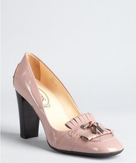 Tod S Dusty Rose Patent Leather Moccasin Style Stacked