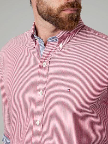 Tommy Hilfiger Lexington Stripe Shirt In Red For Men Lyst
