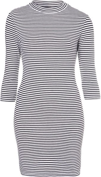 Topshop Stripe Polo Tunic - Lyst