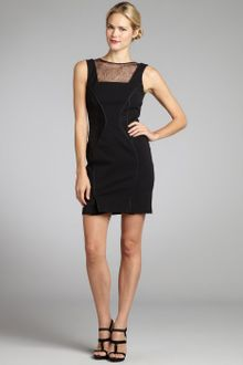 Vera Wang Lavender Black Stretch Lace Insert Vback Sheath Dress - Lyst