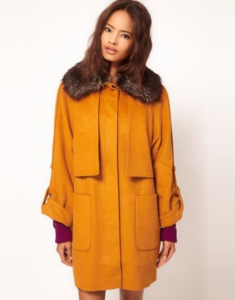 ASOS Collection  Fur Collar Oversized Coat - Lyst