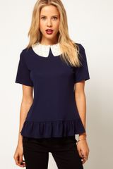 ASOS Collection  Peplum Top with Pearl Crystal Collar - Lyst