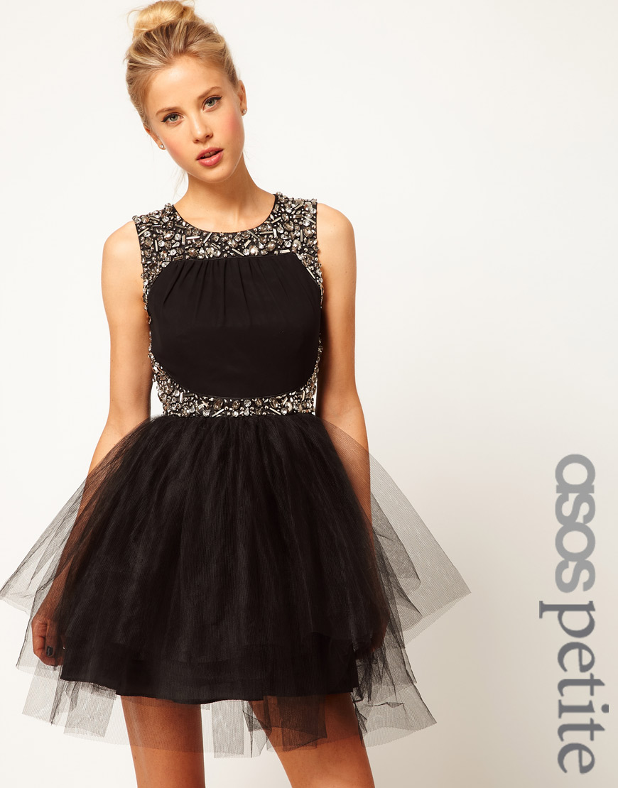 Asos Dress with Tutu Skirt and Embellishment in Black | Lyst