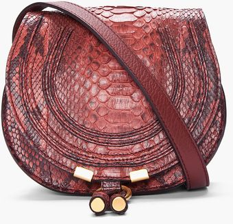 Chloé Burgundy Python Leather Marcie Bag - Lyst