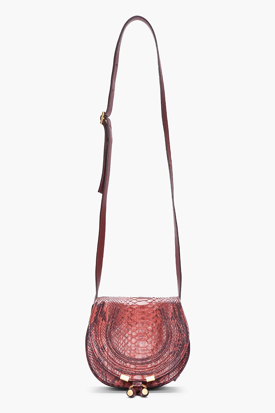 Chlo 233 Burgundy Python Leather Marcie Bag In Red Lyst