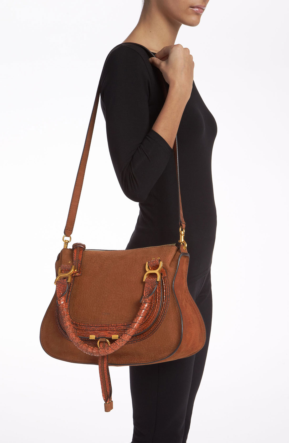 Chlo¨¦ Marcie Small Nubuck Leather Genuine Python Satchel in Brown ...