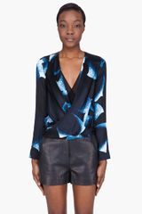 Diane Von Furstenberg Blue Patterned Silk New Issie Blouse - Lyst