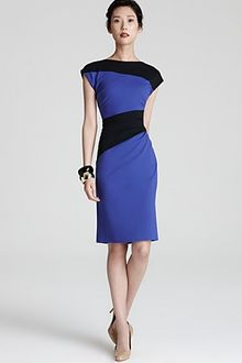 Escada Jersey Dress Color Block with Side Ruching - Lyst