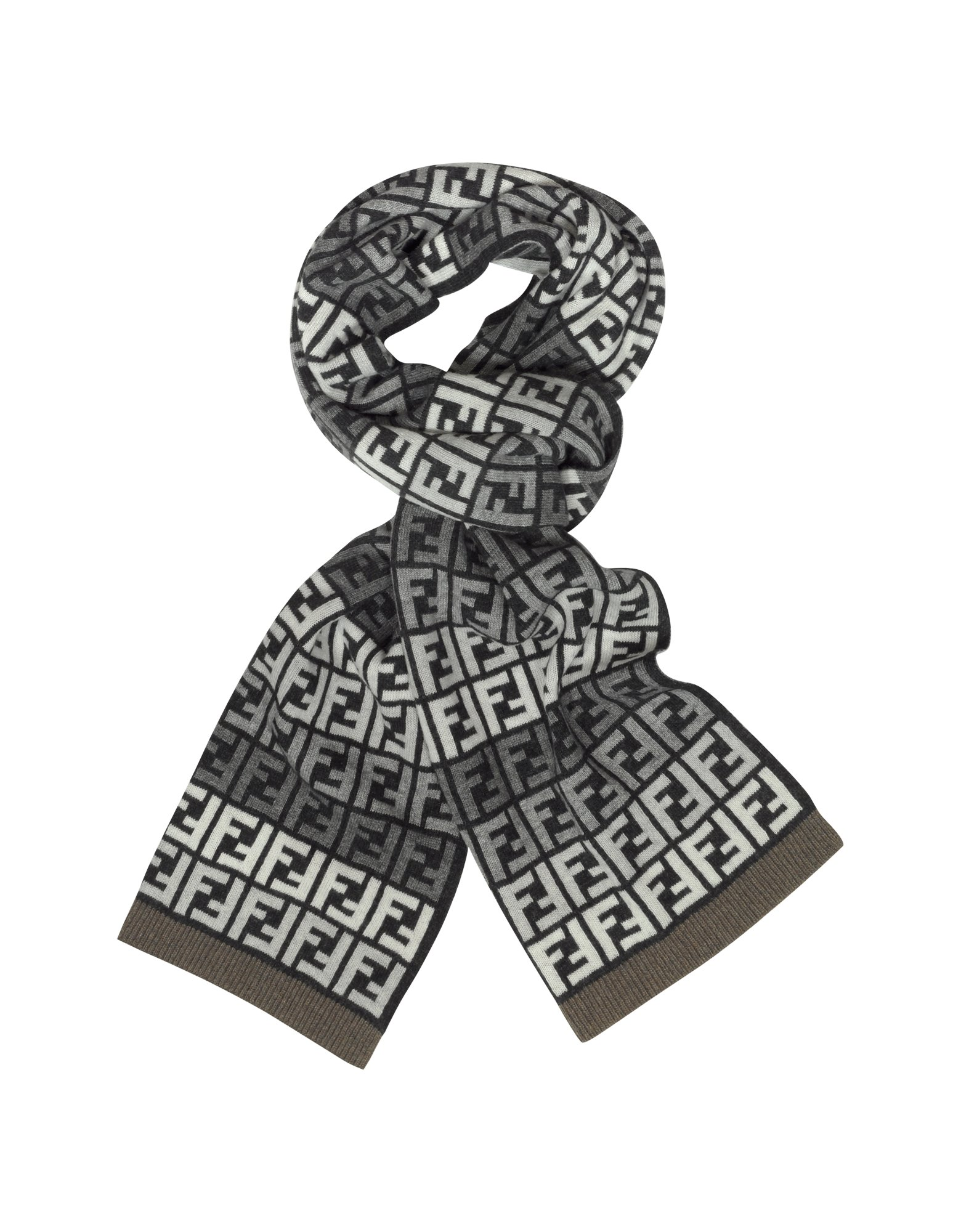 f92ee4bf4c3 ... promo code for lyst fendi all over zucca logo jacquard knit wool scarf  in gray 3f67a