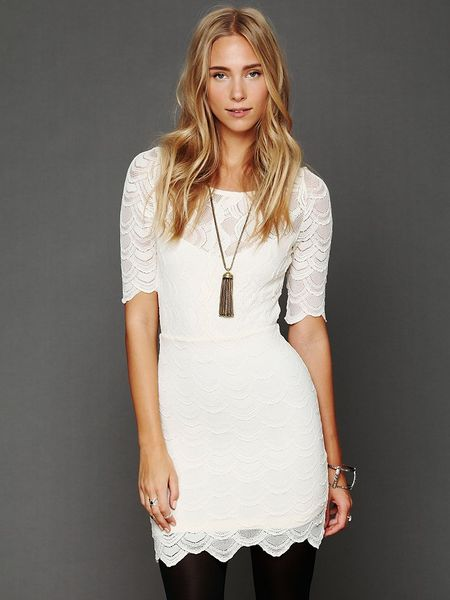 Free People Boatneck Victorian Dress in White (ivory)
