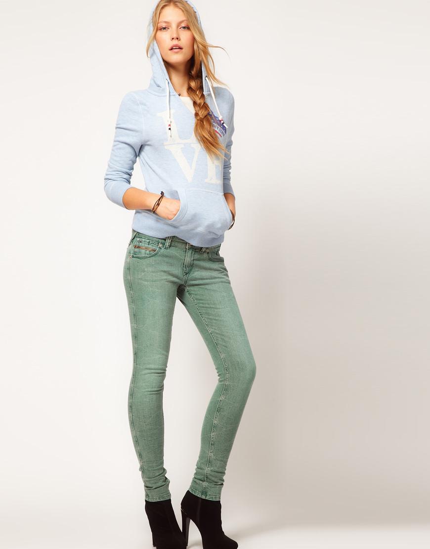 lyst hilfiger denim coloured sophie skinny jeans in blue. Black Bedroom Furniture Sets. Home Design Ideas