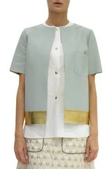 Marni Short Sleeve Leather Snap Jacket