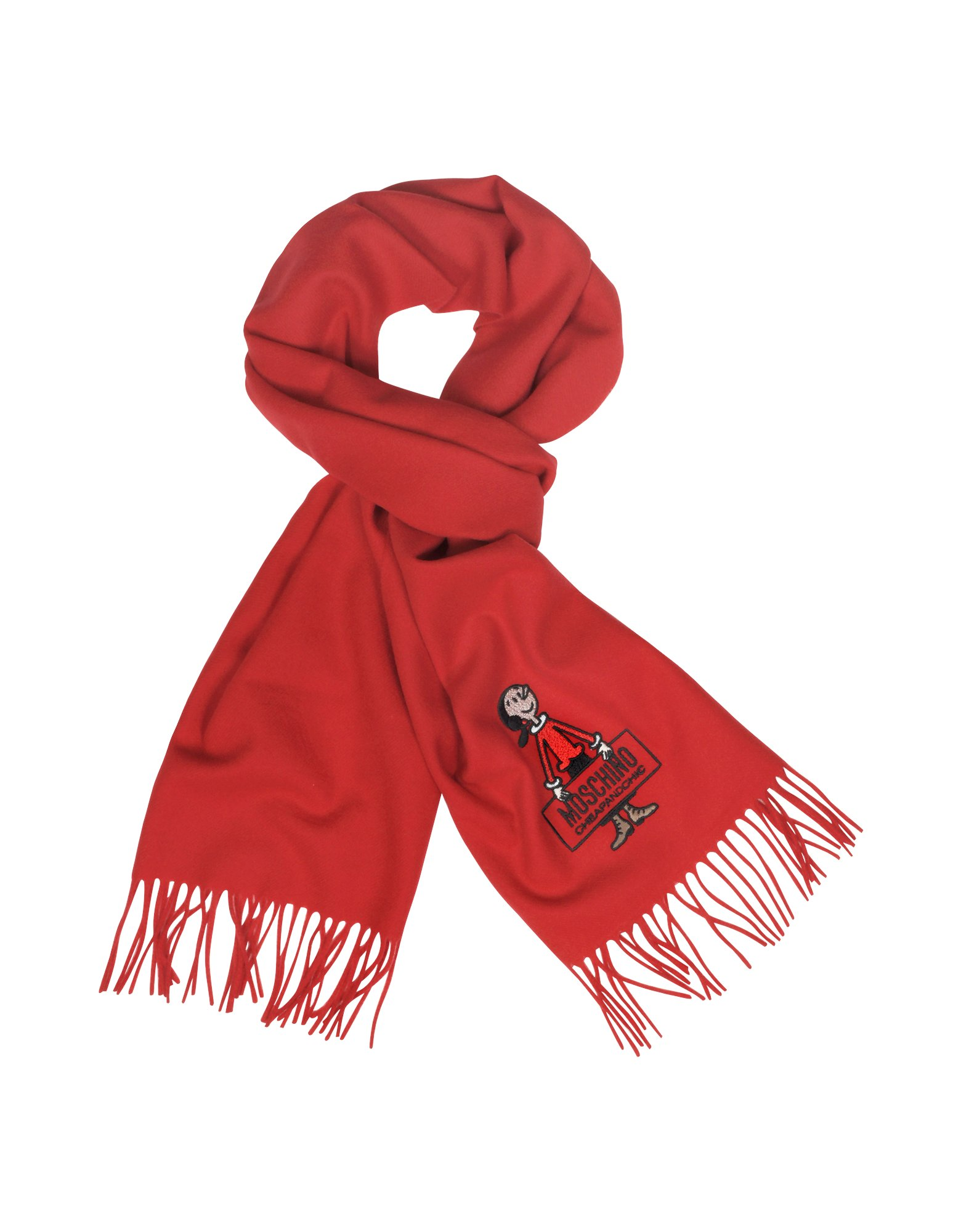 eef3967fed Moschino Cheap and Chic Olive Oil Solid Wool Long Scarf in Red - Lyst