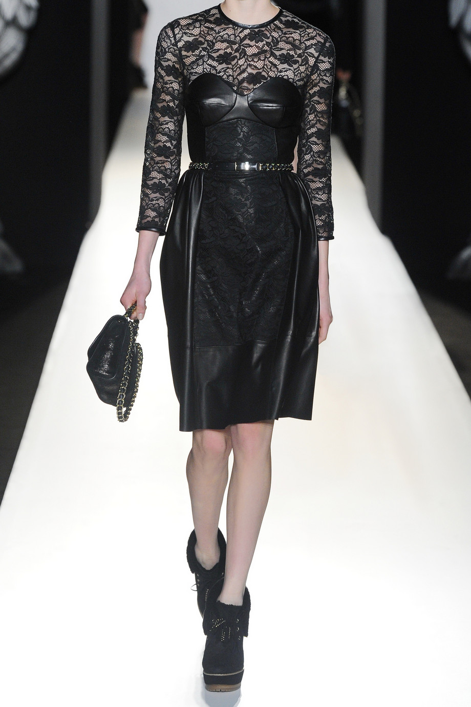 Lyst Mulberry Paneled Leather And Lace Dress In Black
