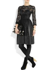Mulberry Paneled Leather and Lace Dress in Black - Lyst