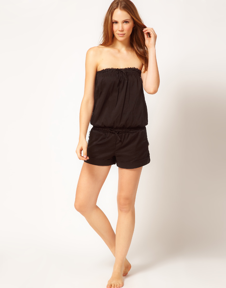 e05b8a59e40 Lyst - Seafolly Cotton Playsuit in Black