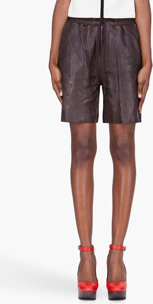 See By Chloé Chocolate Brown Sheepskin Shorts - Lyst