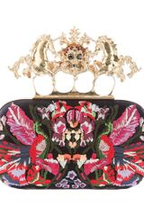 Alexander Mcqueen Embroidered Knuckle Duster Clutch in Multicolor (black) - Lyst