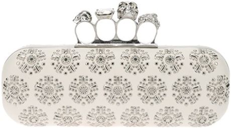 Alexander Mcqueen Printed Knuckle Ring Clutch in White