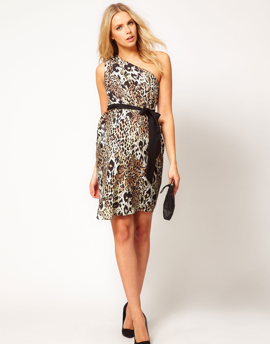 Asos one shoulder dress in animal print lyst gallery ombrellifo Images