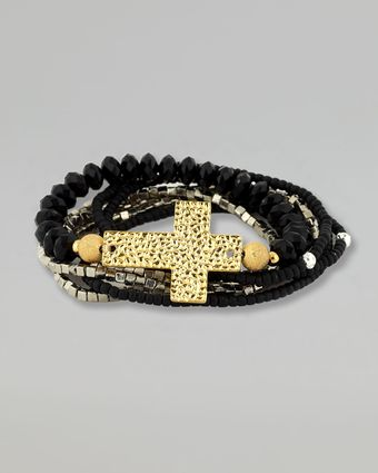 Belle Noel Beaded Cross Bracelet - Lyst