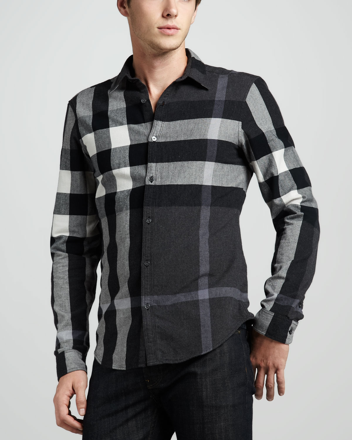 Burberry brit check flannel shirt in black for men lyst for Burberry brit checked shirt