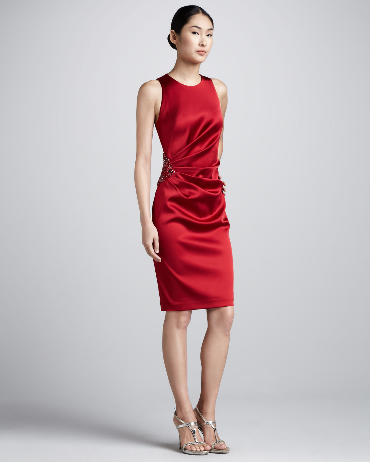 David meister Beadhip Ruched Cocktail Dress in Red | Lyst