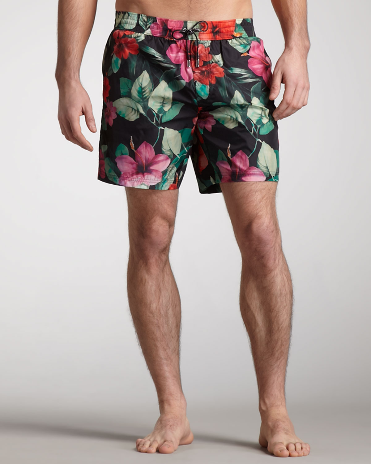 87bc3beb80c5b Lyst - Dolce   Gabbana Floral Print Swim Trunks in Black for Men