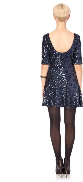 French Connection Ozlem Sequin Flared Dress In Blue Navy