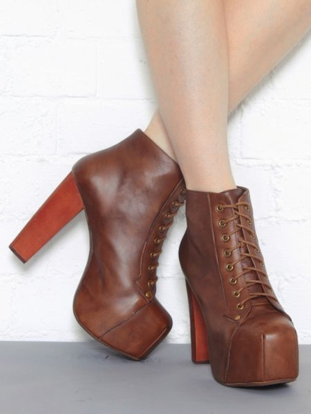 Jeffrey campbell lita platform lace up platform ankle boot in brown lyst - Jeffrey campbell lita platform boots ...