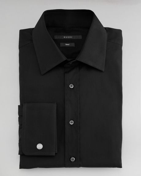 Gucci Solid Dress Shirt in Black for Men