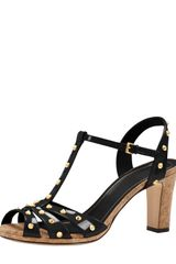 Gucci Studded Patent Leather Sandal Black - Lyst