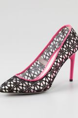Jason Wu Crochet Lace Pump Blackmagenta - Lyst