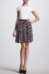 Jason Wu Pleated Floral-print Skirt Navy-coral - Lyst