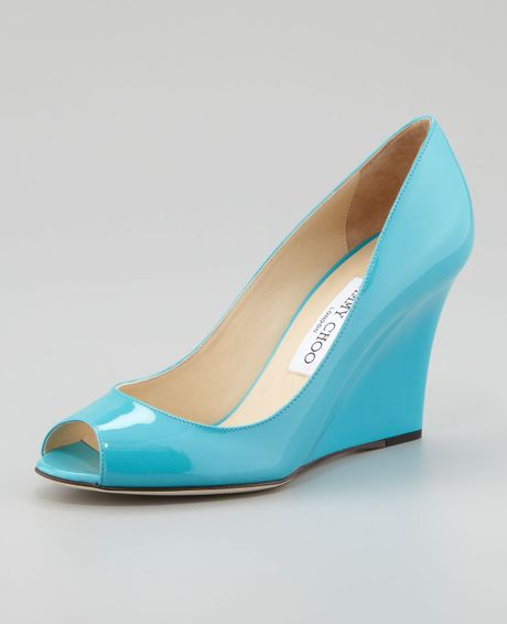 Jimmy Choo Baxen Peeptoe Patent Wedge Turquoise in Blue (turquoise) - Lyst