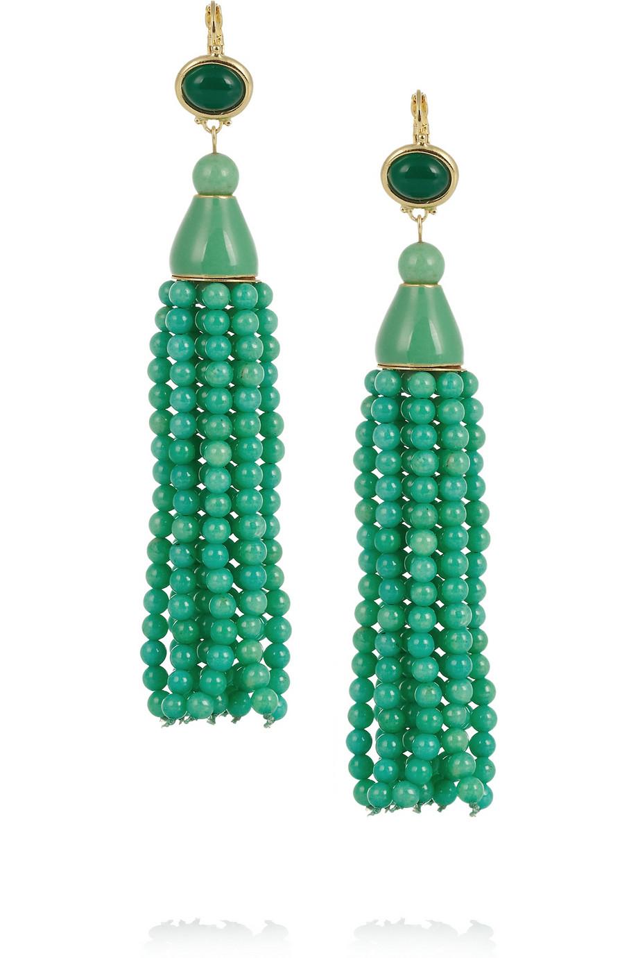 kenneth goldplated beaded tassel earrings in