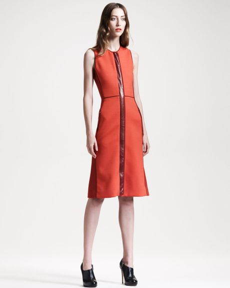 Reed Krakoff Leathertrim Colorblock Dress in Red (crimson ...