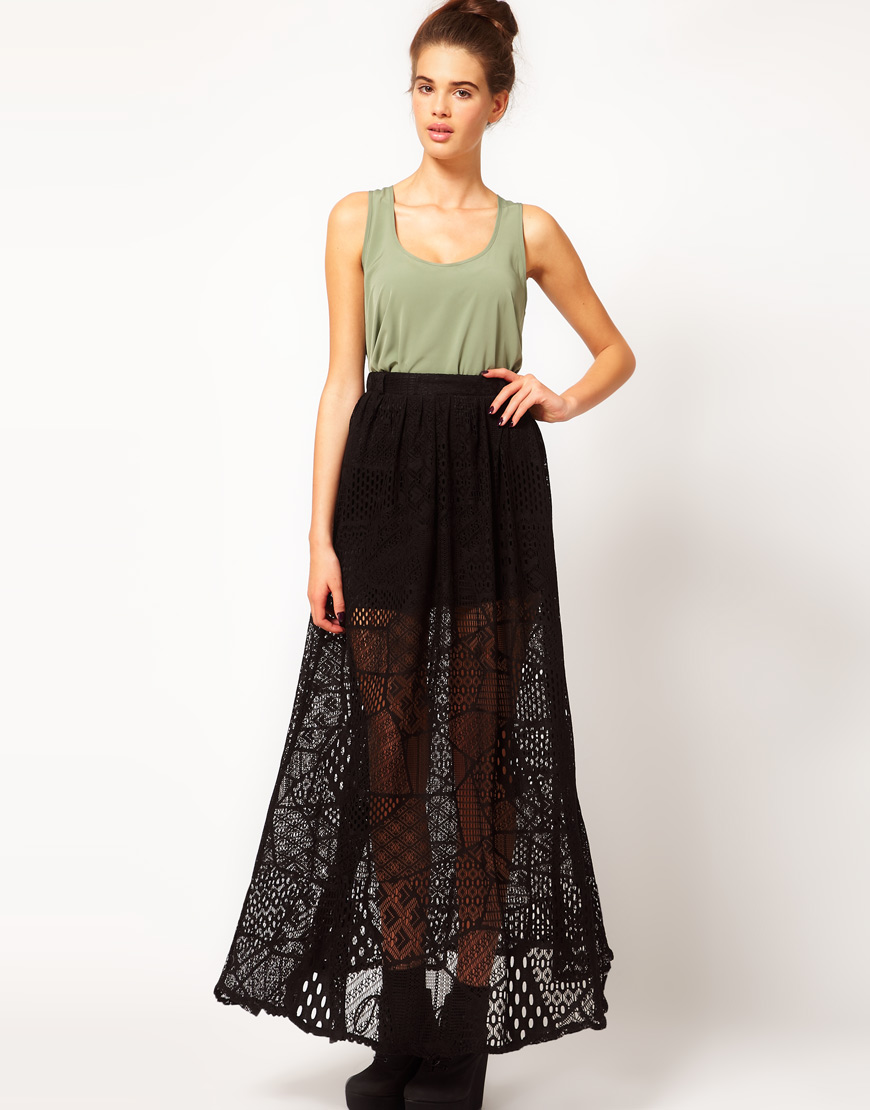 18a8018353 River Island Chelsea Girl Lace Maxi Skirt in Black - Lyst