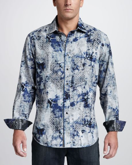Robert Graham Tahoe Reversible Sport Shirt in Blue for Men