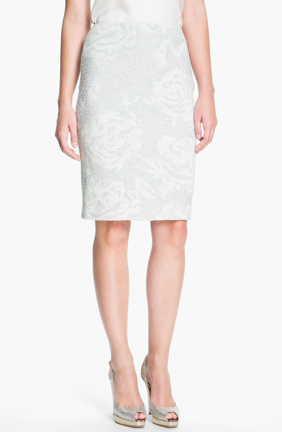st collection floral jacquard pencil skirt in gray