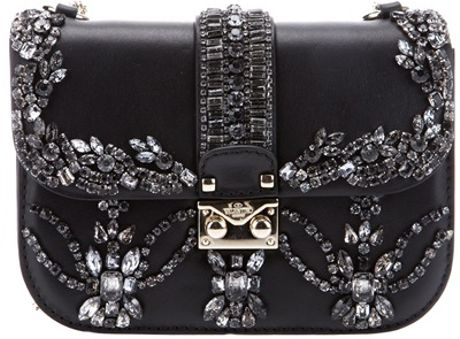 Valentino Crystal Embellished Shoulder Bag in Black