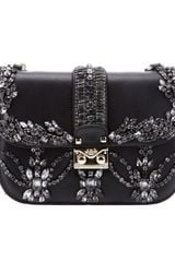 Valentino Crystal Embellished Shoulder Bag in Black - Lyst