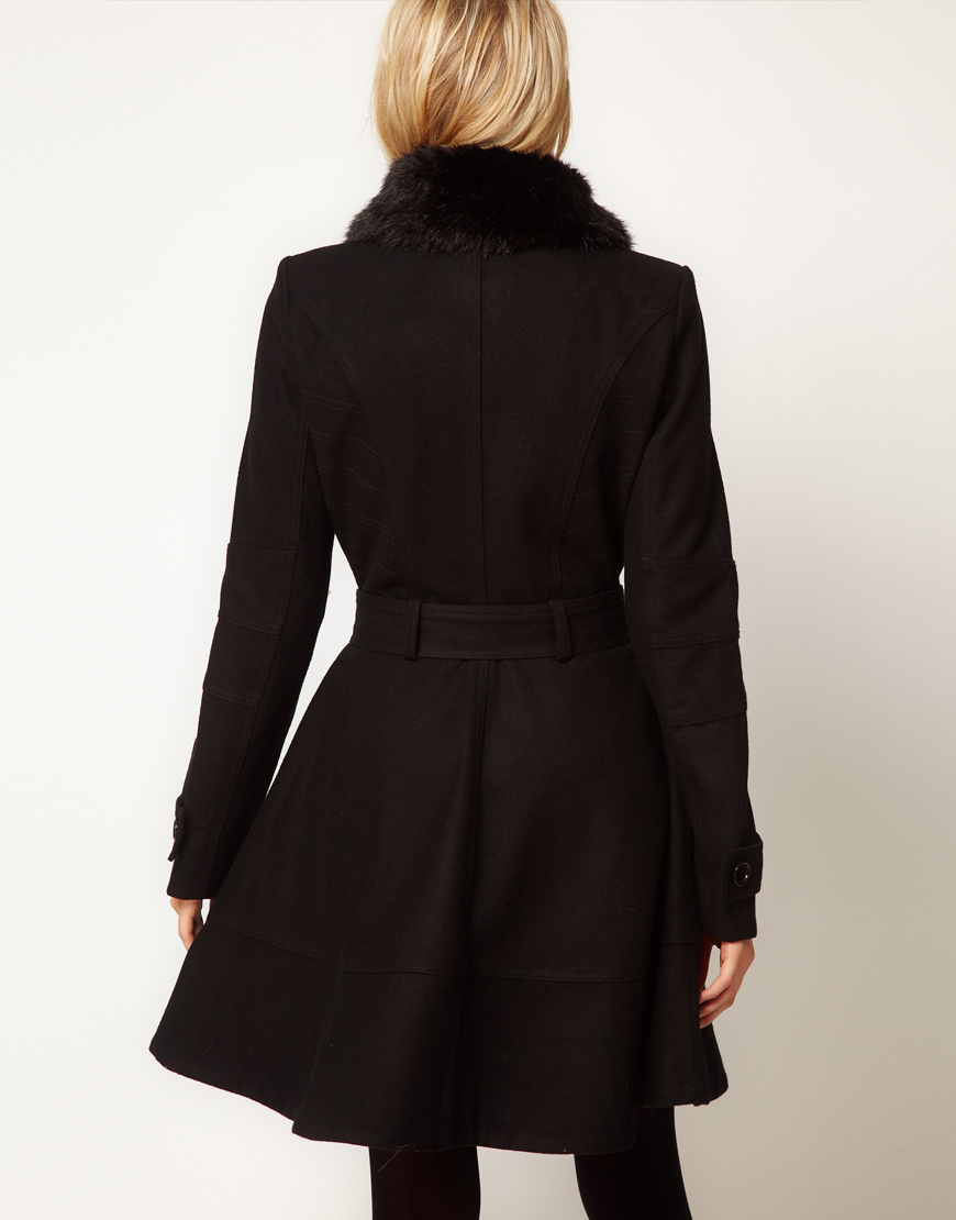 Lyst Asos Collection Fur Trim Fit And Flare Coat In Black