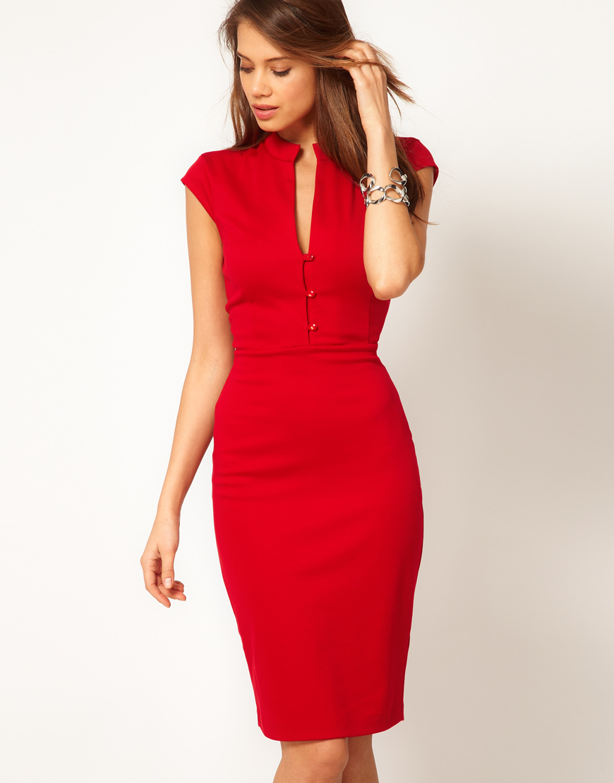 Asos Pencil Dress With Plunge Neck In Red | Lyst