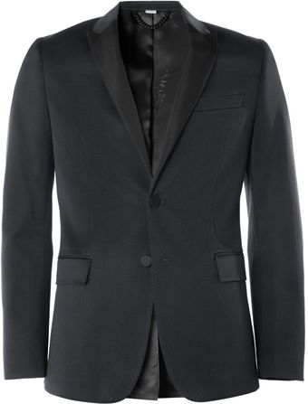 Burberry Navy Wool and Cottonblend Tuxedo Jacket - Lyst