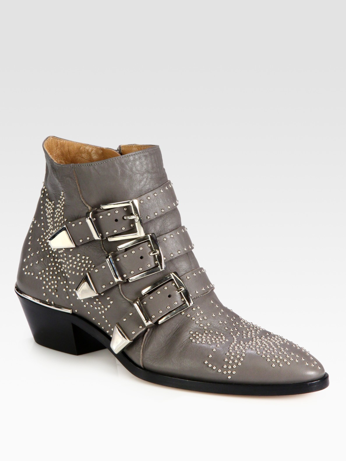 Chlo 233 Studded Leather Buckle Ankle Boots In Gray Lyst