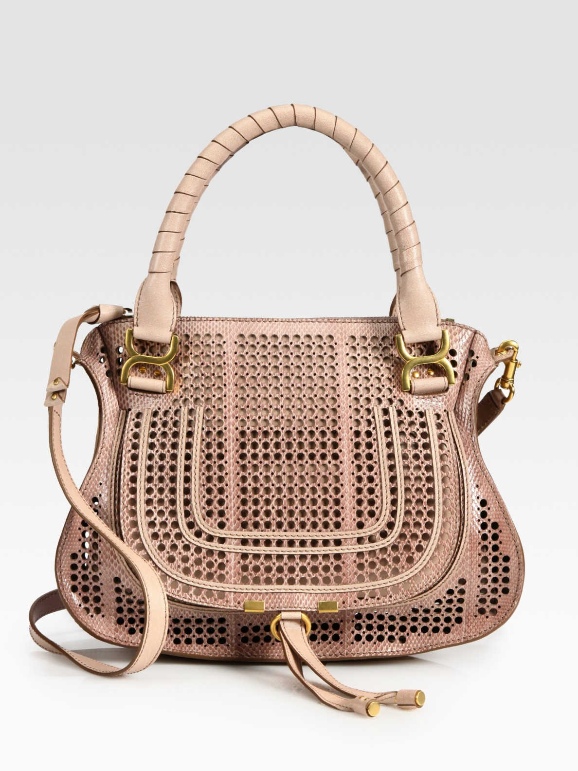 Chlo�� Marcie Perforated Snake Embossed Leather Shoulder Bag in ...