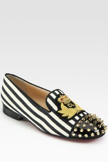 Christian Louboutin Intern Striped Canvas Studded Patent Smoking Slippers - Lyst