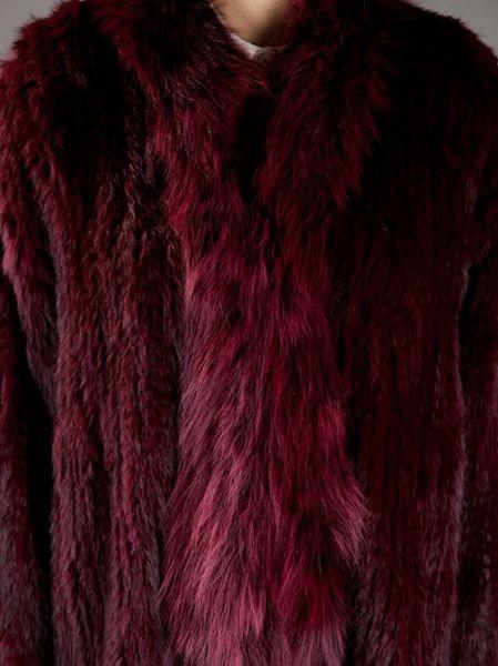 Elizabeth And James Rabbit Fur Coat In Red Merlot Lyst