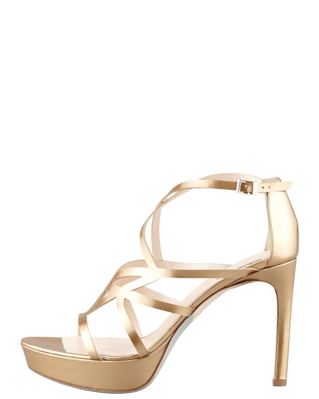4fa549df3559 Lyst - Giorgio Armani Matte Metallic Strappy Platform Sandal Gold in ...